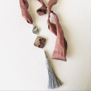 Genuine Picture Agate Organic Silk Tassel Necklace